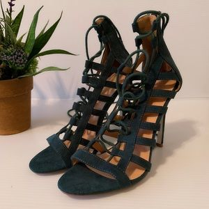 Charlotte Russe Lace Up Forest Green Heels size 7